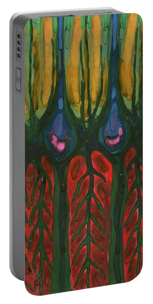Colour Portable Battery Charger featuring the painting Underground Life by Wojtek Kowalski