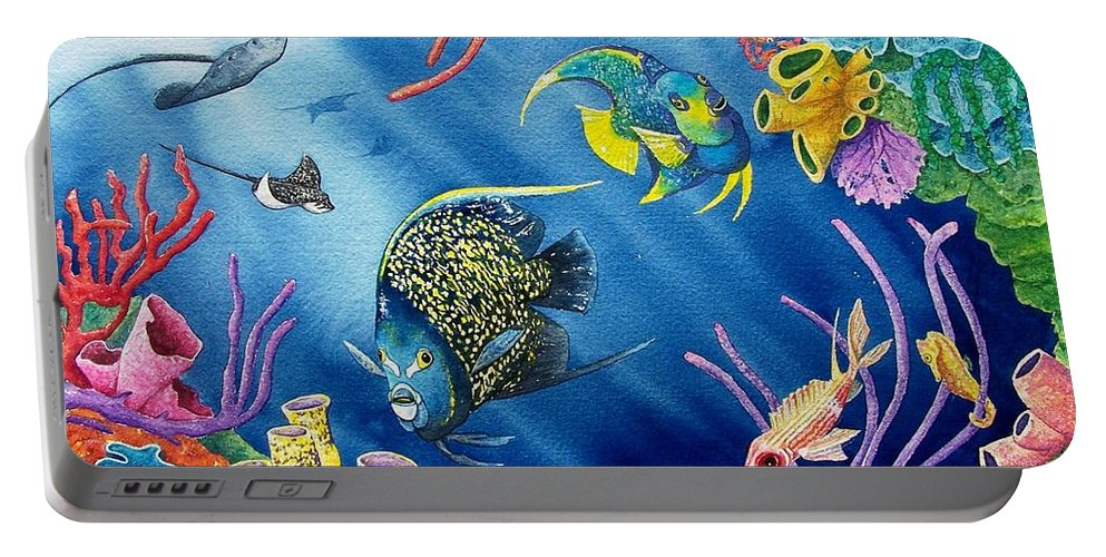 Undersea Portable Battery Charger featuring the painting Undersea Garden by Gale Cochran-Smith