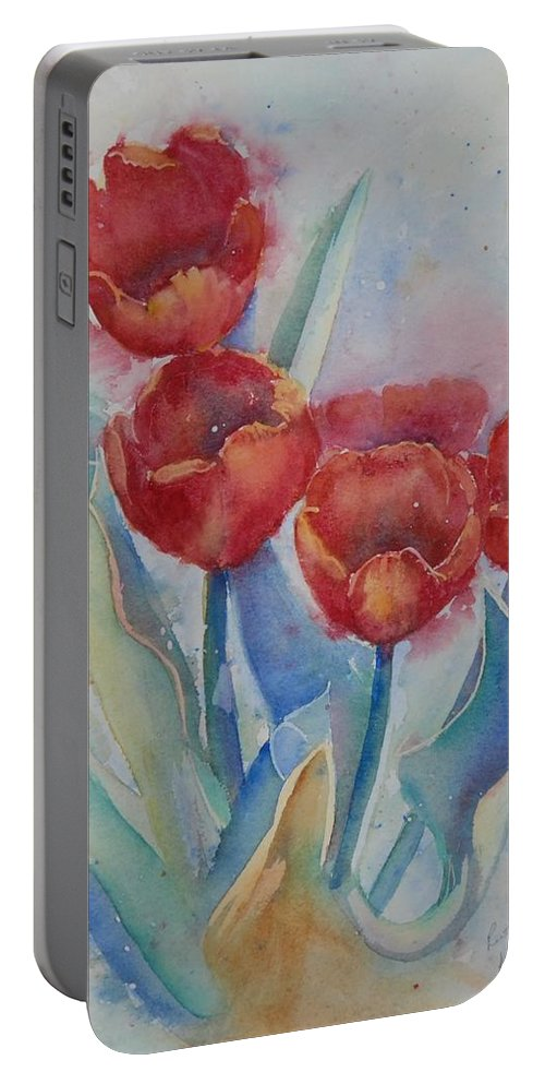 Flowers Portable Battery Charger featuring the painting Undersea Tulips by Ruth Kamenev