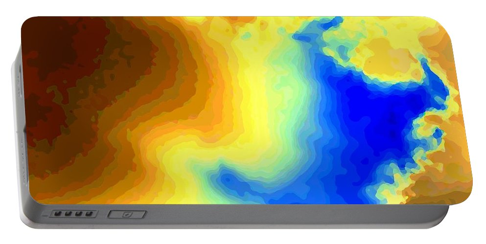 Abstract Portable Battery Charger featuring the digital art Undersea Volcano by Will Borden