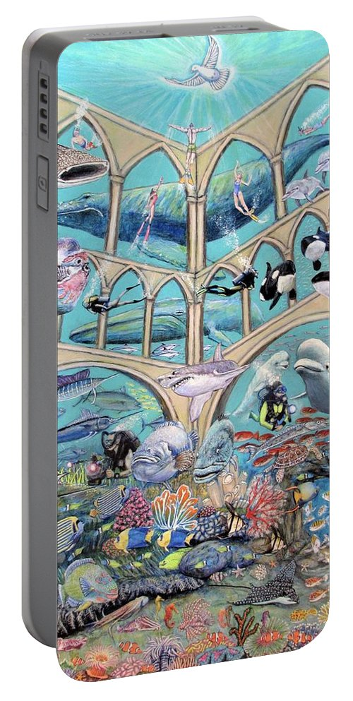 Seascape Portable Battery Charger featuring the mixed media Underwater Sanctuary by Neal David Reilly