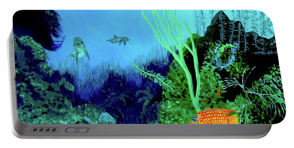 Wildlife Portable Battery Charger featuring the painting Underwater by Stan Hamilton