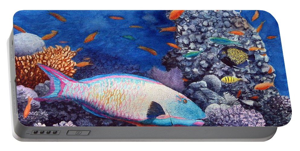 Fish Portable Battery Charger featuring the painting Underwater Treasures by Sharon Farber