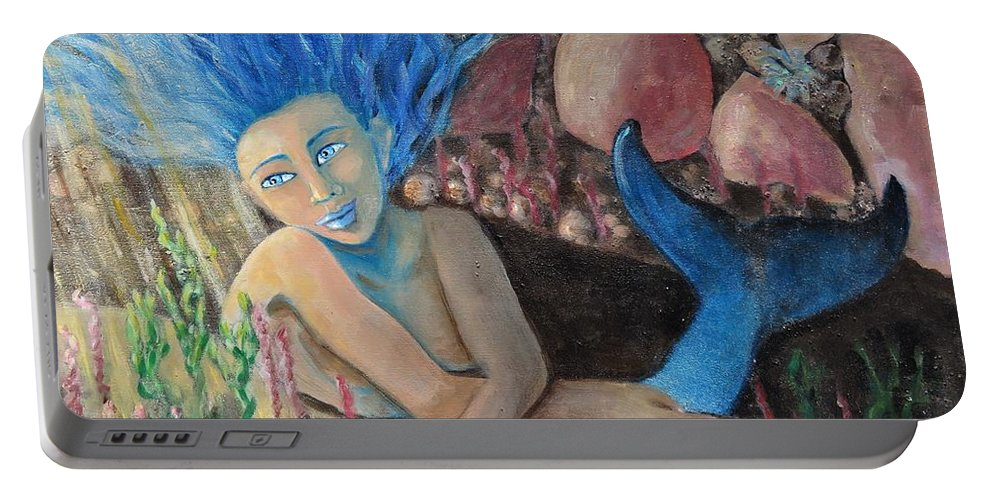 Mermaid Portable Battery Charger featuring the painting Underwater Wondering by Laurie Morgan