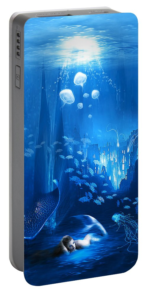 Abstract Portable Battery Charger featuring the digital art Underwater World by Svetlana Sewell