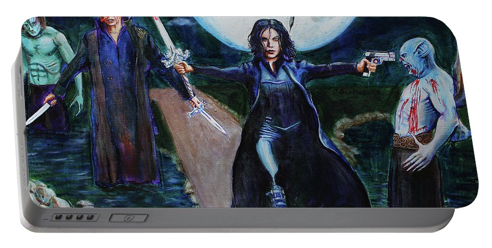 Selene Portable Battery Charger featuring the painting Underworld Trilogy by Charles Bickel