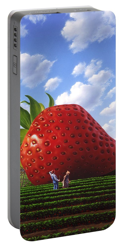 Strawberry Portable Battery Charger featuring the painting Unexpected Growth by Jerry LoFaro