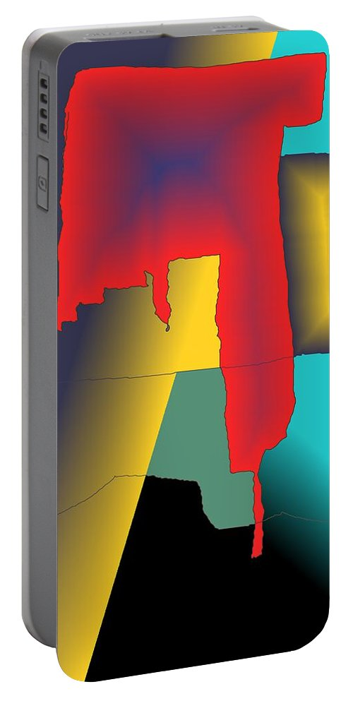 Red Portable Battery Charger featuring the digital art Unexpected- Red by Helmut Rottler