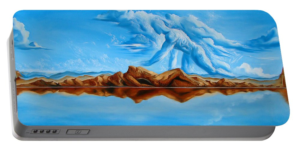 Surrealism Portable Battery Charger featuring the painting Unfinished Business by Darwin Leon