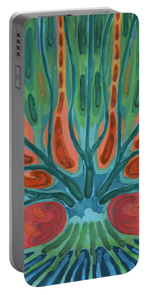 Colour Portable Battery Charger featuring the painting Unfinished Tree by Wojtek Kowalski