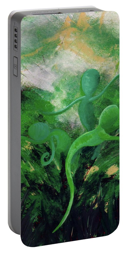 Unfurling Portable Battery Charger featuring the painting Unfurling Rainbow Soul Collection by Catt Kyriacou