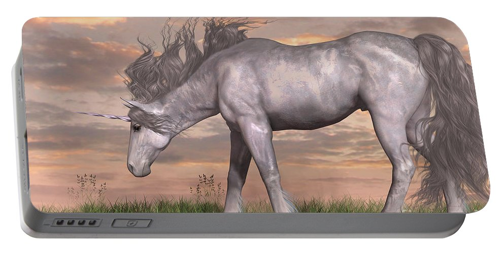 Unicorn Portable Battery Charger featuring the painting Unicorn And Chipmunk by Corey Ford