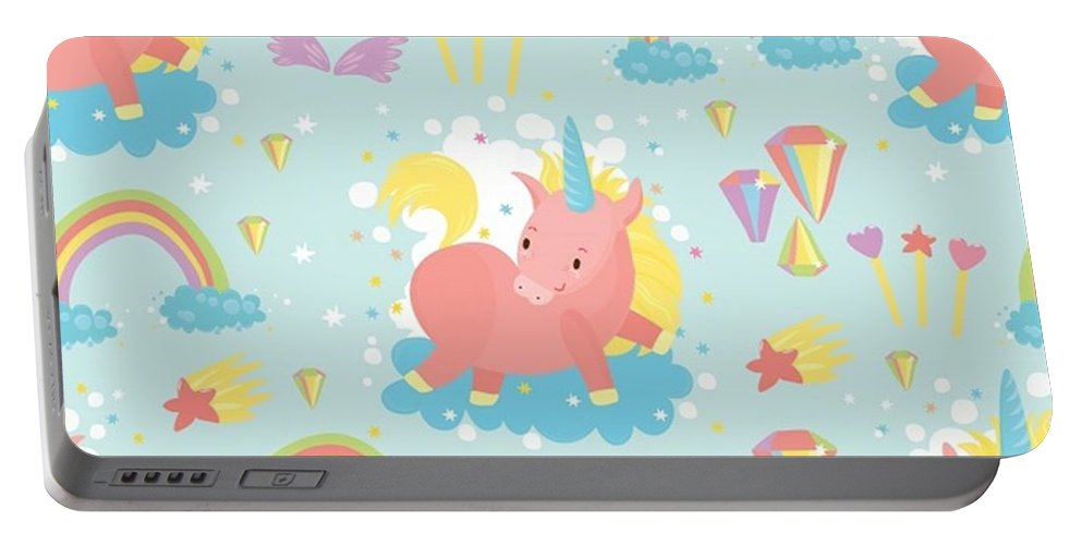 Unicorn Portable Battery Charger featuring the digital art Unicorn And Rainbow Pattern by Justin Clanton