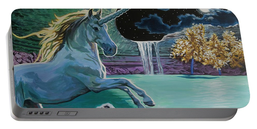 Fantasy Portable Battery Charger featuring the painting Unicorn Lake by Tommy Midyette