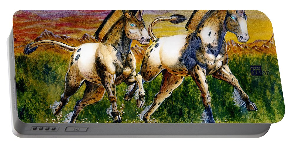 Artwork Portable Battery Charger featuring the painting Unicorns In Sunset by Melissa A Benson
