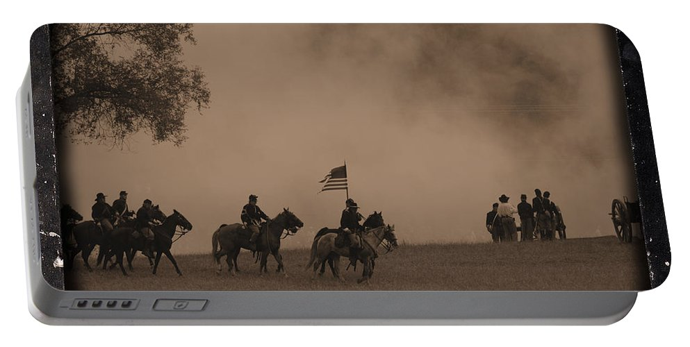 Civil War Portable Battery Charger featuring the photograph Union Cavalry Charge by Tommy Anderson
