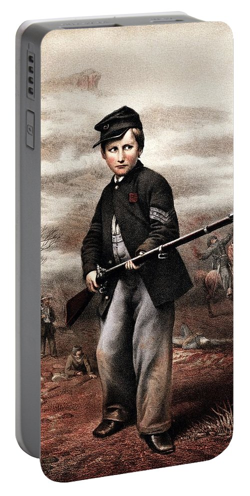 Civil War Portable Battery Charger featuring the painting Union Drummer Boy John Clem by War Is Hell Store