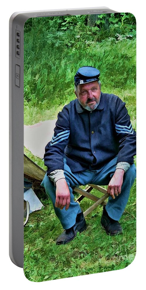 Wisconsin Portable Battery Charger featuring the digital art Union Sergeant by Tommy Anderson