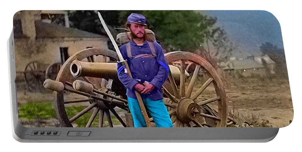 War Between The States Portable Battery Charger featuring the digital art Union Soldier With Cannon by Gerald McNamee