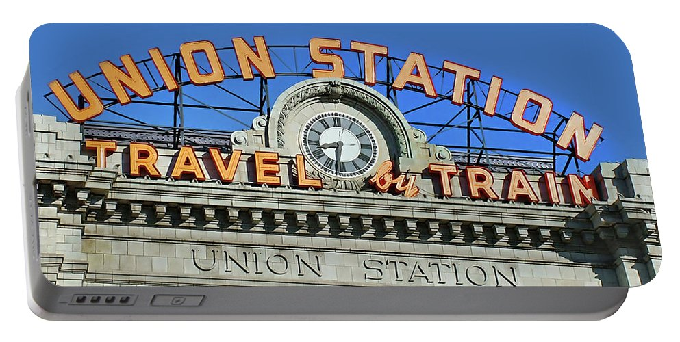 Steam Train Photographs Portable Battery Charger featuring the photograph Union Station Sign by Ken Smith