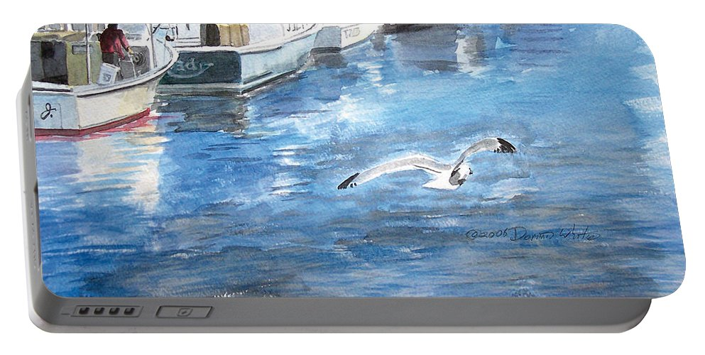 Seagull Portable Battery Charger featuring the painting Union Wharf by Dominic White