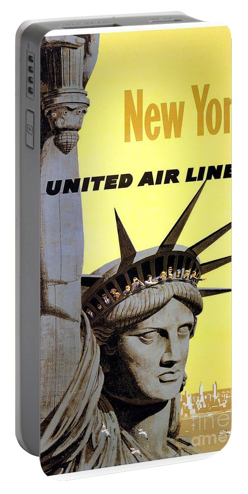 United Airlines Portable Battery Charger featuring the painting United Airlines by Pd