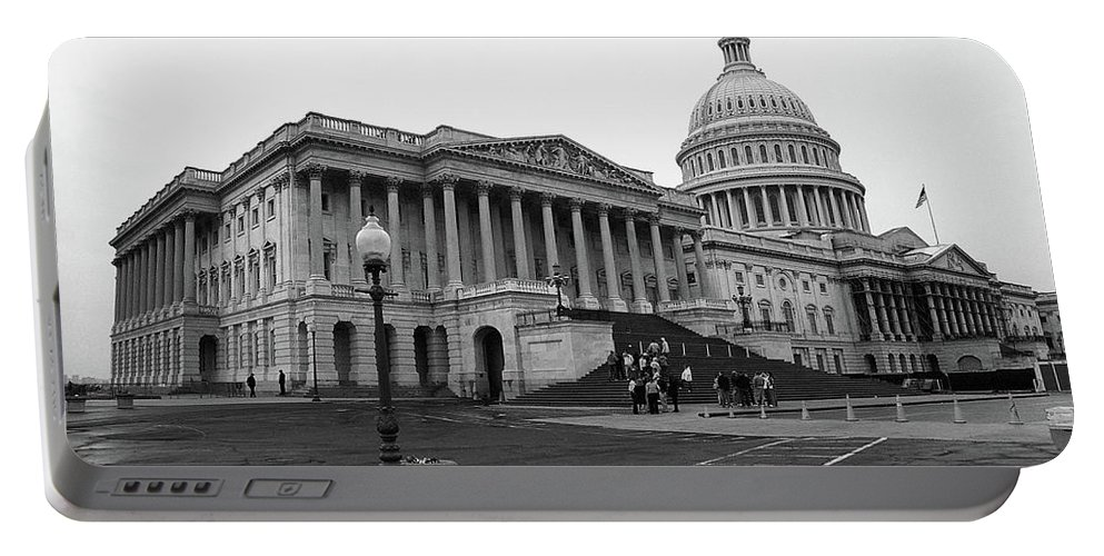 America Portable Battery Charger featuring the photograph United States Capitol Building 2 Bw by Frank Romeo