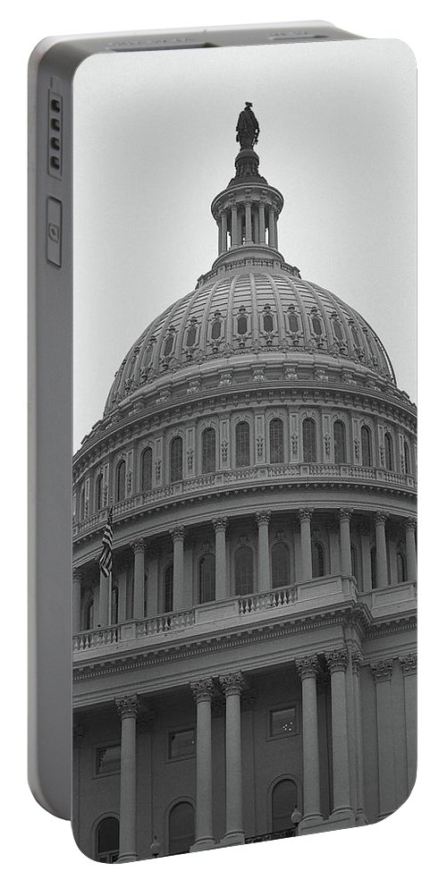 America Portable Battery Charger featuring the photograph United States Capitol Building 3 Bw by Frank Romeo