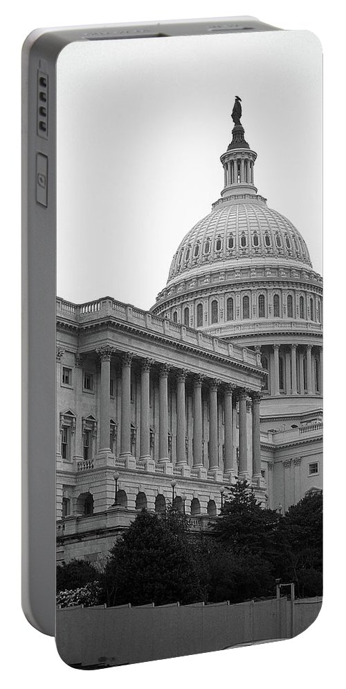 America Portable Battery Charger featuring the photograph United States Capitol Building 4 Bw by Frank Romeo