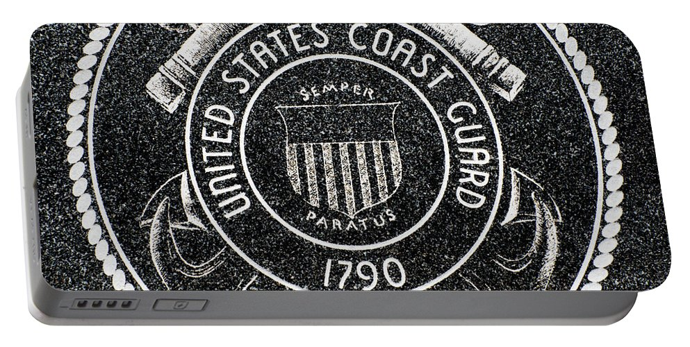Coast Guard Portable Battery Charger featuring the photograph United States Coast Guard Emblem Polished Granite by Gary Whitton