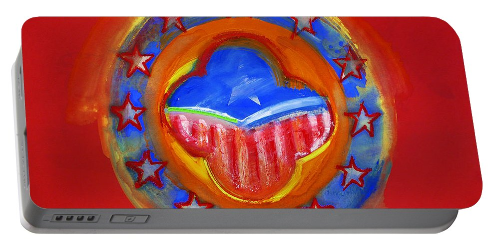 Symbol Portable Battery Charger featuring the painting United States Of Europe by Charles Stuart