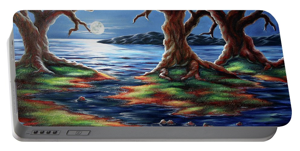 Textured Painting Portable Battery Charger featuring the painting United Trees by Jennifer McDuffie