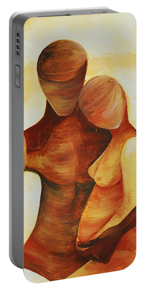 Unity Portable Battery Charger featuring the painting Unity by Catt Kyriacou