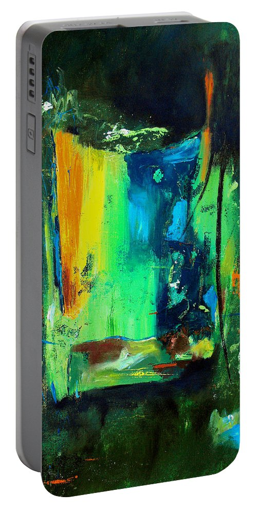 Abstract Portable Battery Charger featuring the painting Unity In The Body by Ruth Palmer