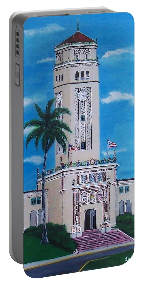 Rio Piedras Portable Battery Charger featuring the painting University Of Puerto Rico Tower by Luis F Rodriguez