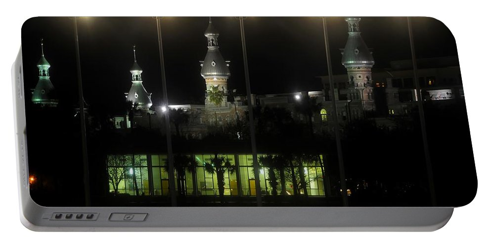 University Of Tampa Portable Battery Charger featuring the photograph University Of Tampa Lights by David Lee Thompson
