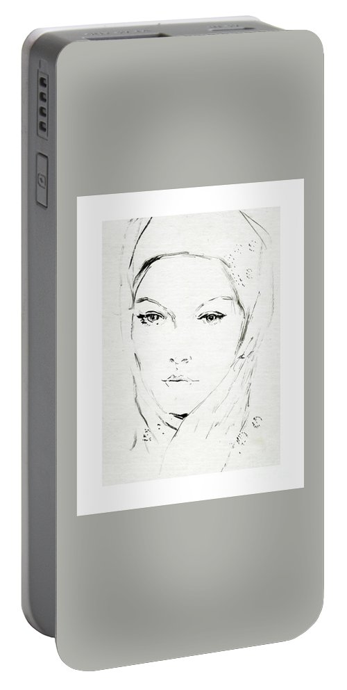 Sketch Portable Battery Charger featuring the drawing Unknown Woman by BlackLineWhite Art
