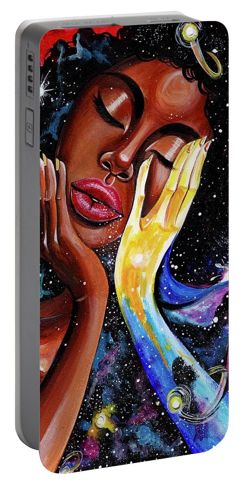 Universe Portable Battery Charger featuring the painting Unlocked U.Never.See.All by Artist RiA