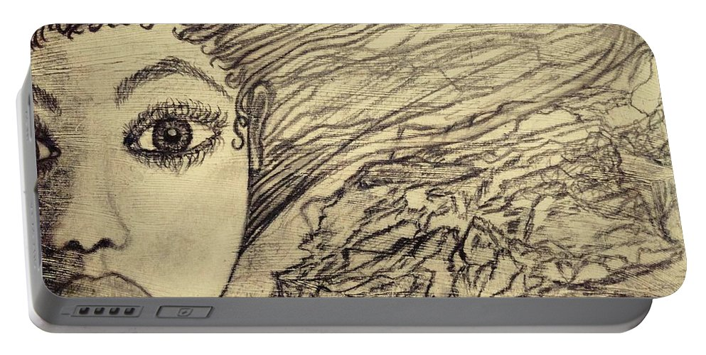 Drawing Portable Battery Charger featuring the drawing Unpainted by Jennie Ragans