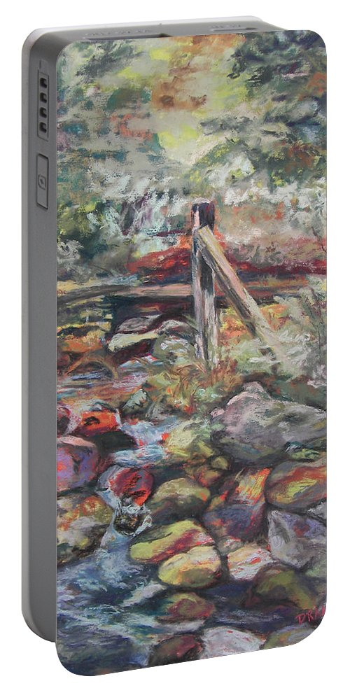 Landscape Portable Battery Charger featuring the pastel Unseated On Trout Brook by Alicia Drakiotes