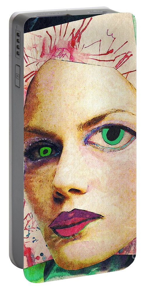 Portrait Portable Battery Charger featuring the mixed media Unsettling Gaze by Sarah Loft