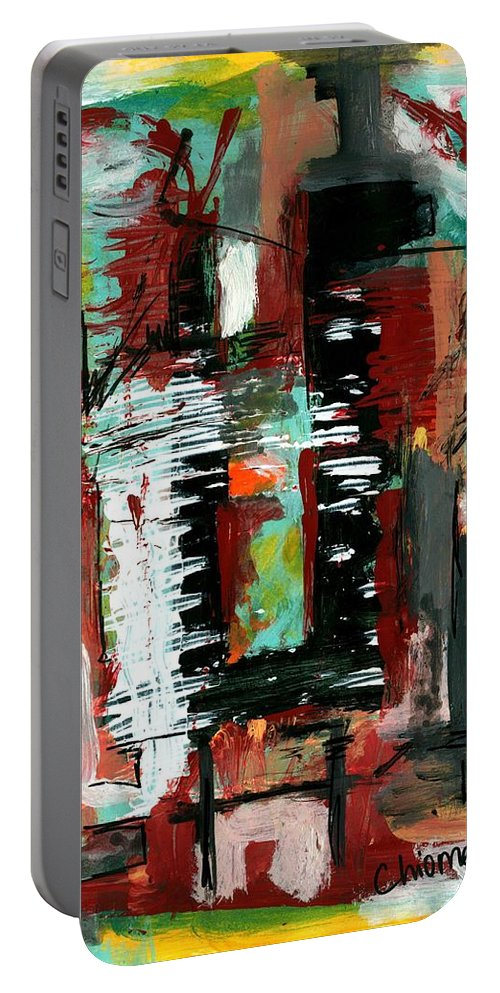 Abstract Art Portable Battery Charger featuring the painting Untitled #13 by Chioma Anah
