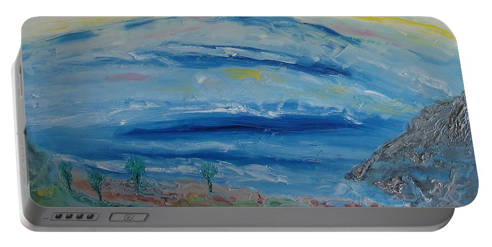 Landscape Portable Battery Charger featuring the painting Untitled by Bennu