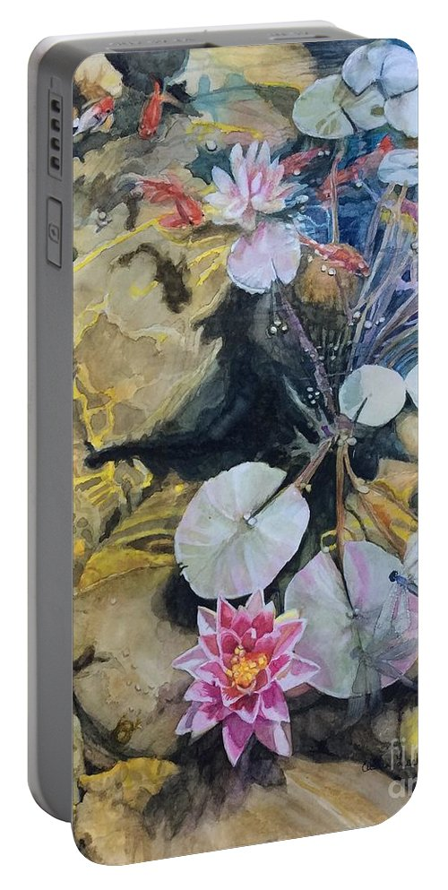 Lily Pads Portable Battery Charger featuring the painting Hide And Seek by Cecilia Hodges