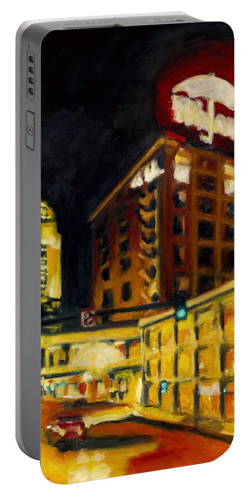 Rob Reeves Portable Battery Charger featuring the painting Untitled In Red And Gold by Robert Reeves