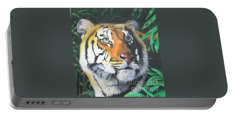Sumatran Tiger Portable Battery Charger featuring the pastel Untitled by John Huntsman