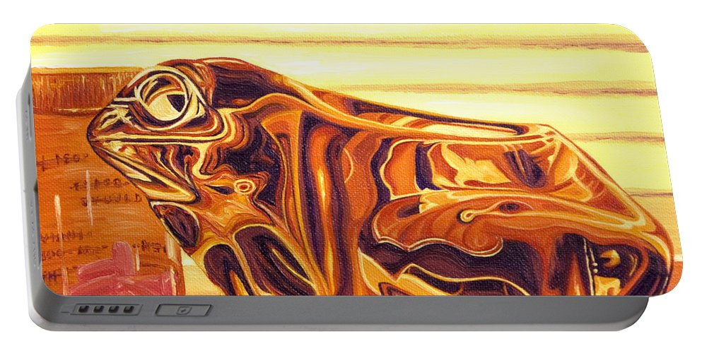 Frog Portable Battery Charger featuring the painting Untitled by Judy Henninger