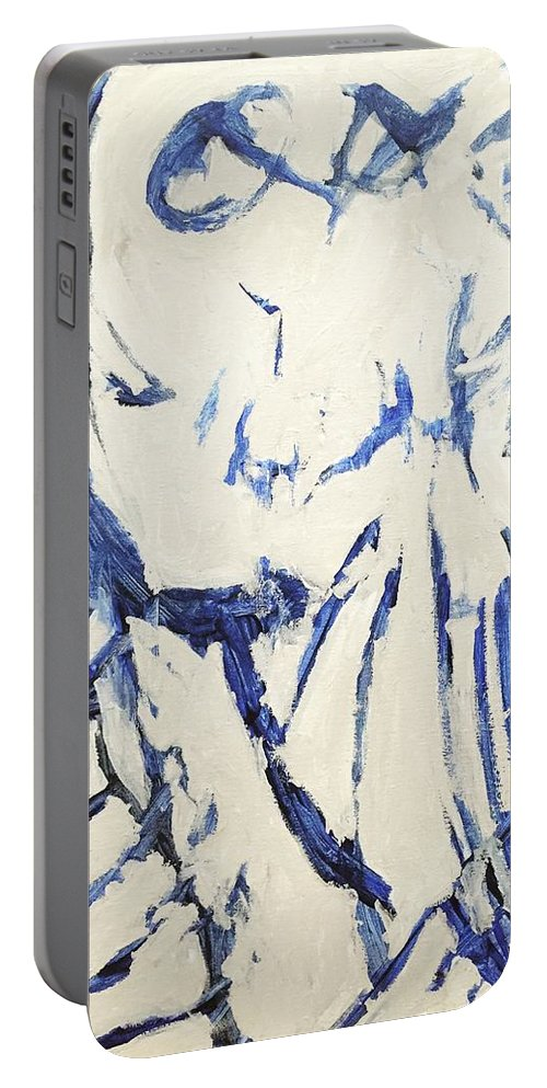 Abstract Portable Battery Charger featuring the painting Untitled by Nicole Saenz