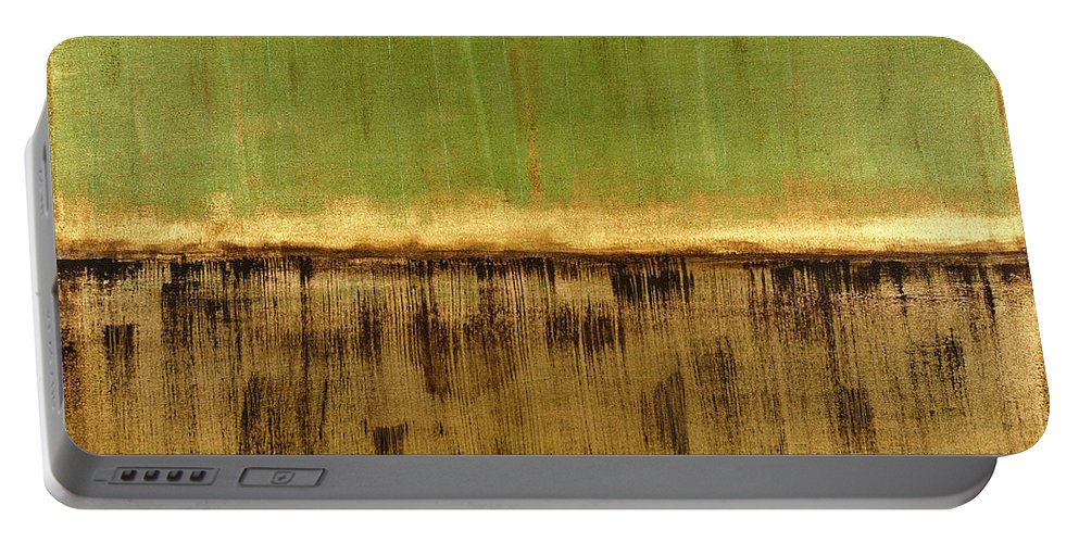 Green Portable Battery Charger featuring the painting Untitled No. 12 by Julie Niemela