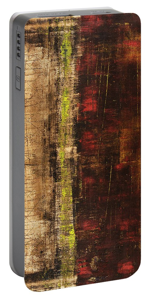 Red Portable Battery Charger featuring the painting Untitled No. 13 by Julie Niemela